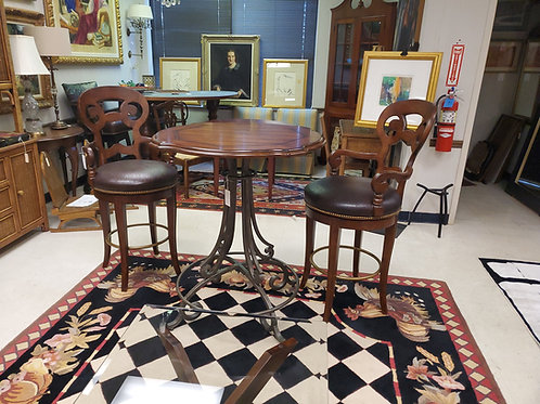 Century Hitop Table and Pair Leather Wood Barstools