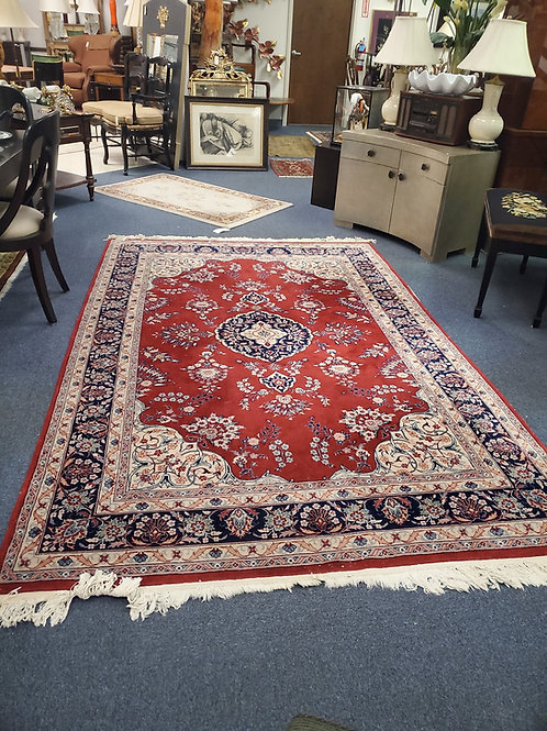 "Blue and Red Oriental Rug, 6"" by 9"""