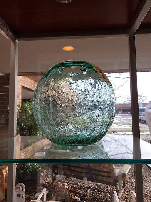 Blenko Aqua Crackle Glass Round Ball Vase