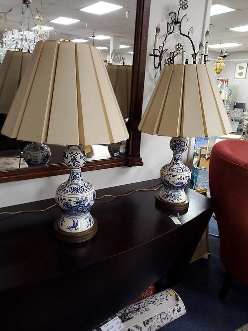 Antique delft lamps pair
