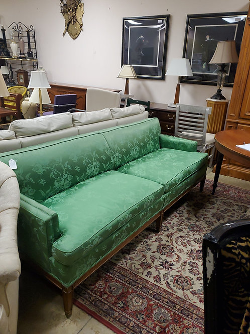 Green Damask Silk Sofa