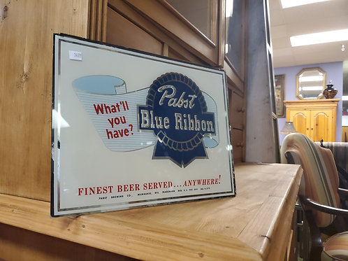 Vintage Pabst Blue Ribbon Mirrored Beer Advertisement