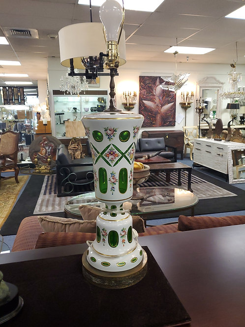 Pair of Cut to Clear Porclain Green Glass Lamps
