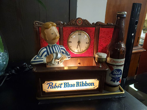 Vintage Pabst Blue Ribbon Metal Display Clock