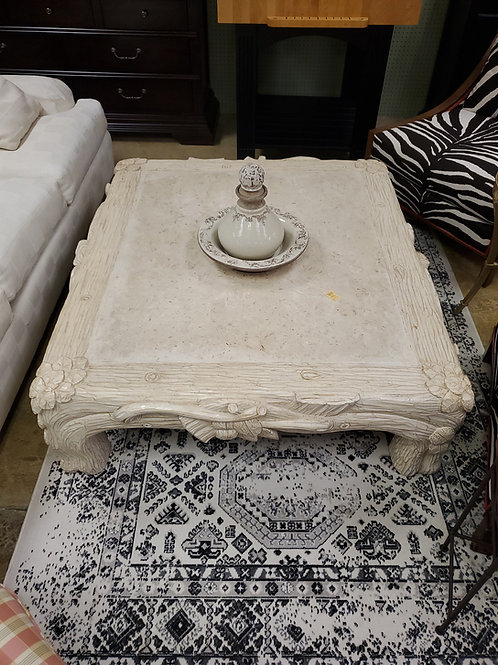 Hand Carved Wooden Coffee Table With White Paint
