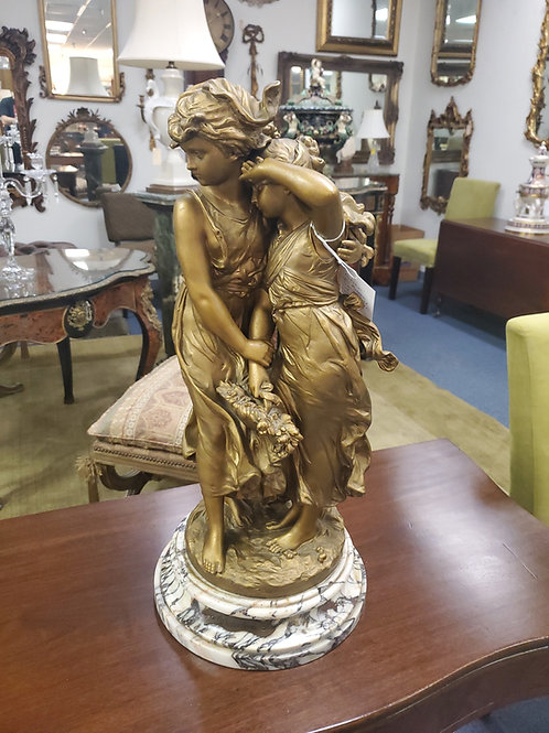 """""""Protection"""" After Moreau Spelter Painted Gold Sculpture Marble Base"""