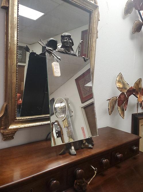 Bronze Figure Holding Mirror