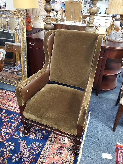 Mohair Leather Arm Chair