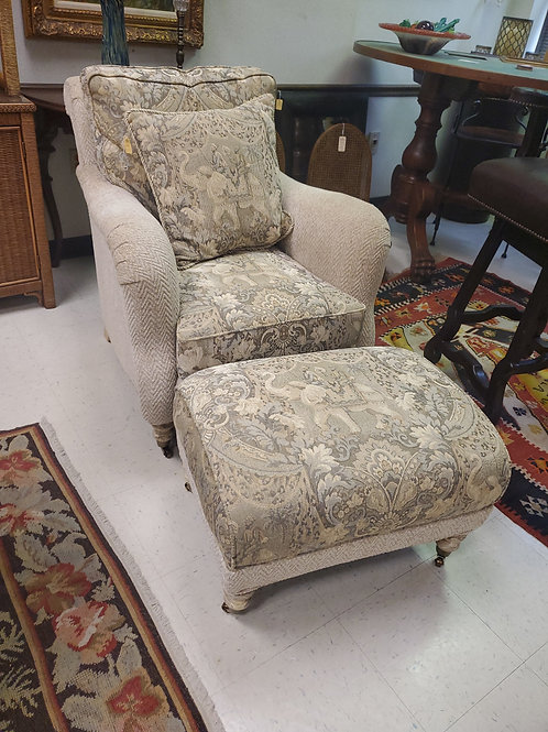 Cream Upholstered Arm Chair Floral Design With Ottoman