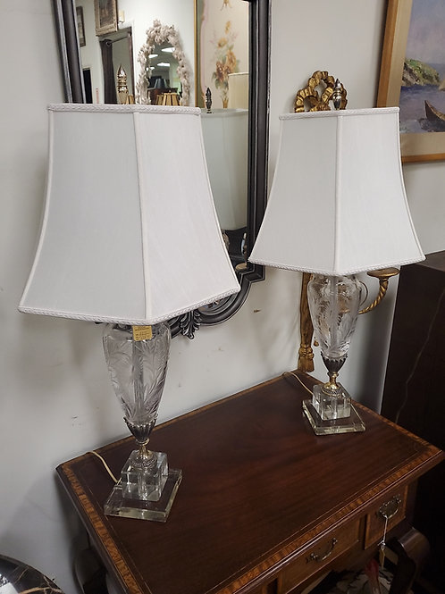 Vintage etched glass lamps pair
