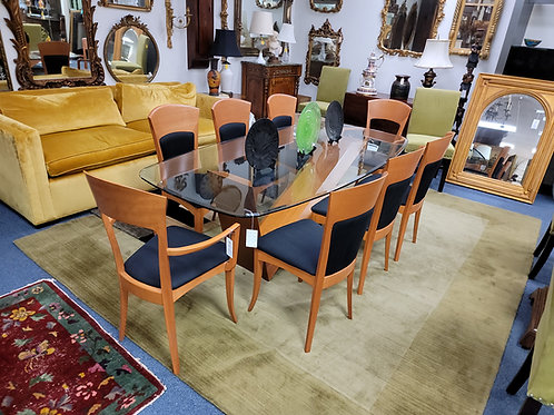 Valentino Table Walnut & Marble and Sibau Teak Italian Dining Chairs Circa 1960s