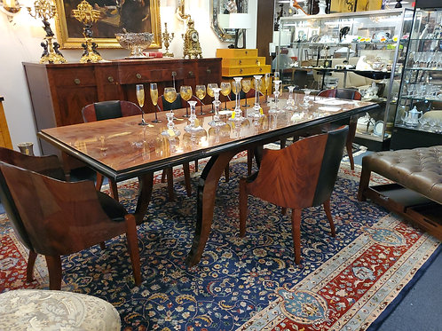 Giorgio Collection 6 Curved Back Ebony Macassar Chairs and Table 2 Leaves