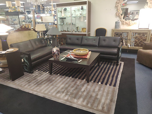 Unique Mid-century Leather Couch With Wrought-iron Sides