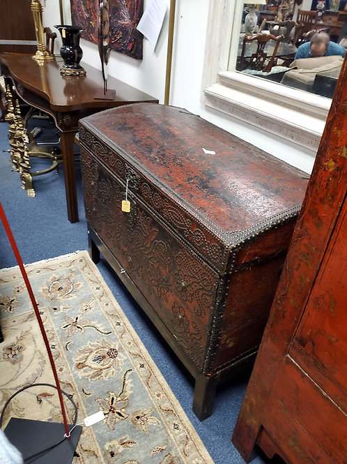 Antique Leather Wrapped Trunk European