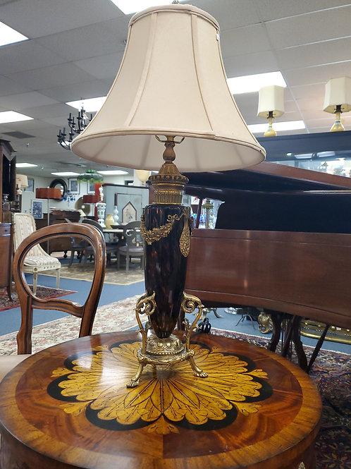 Amber Glass and Gilt Table Lamp