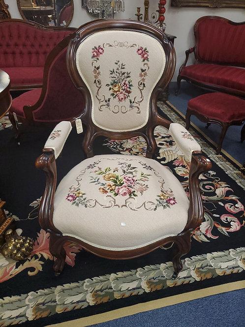 Victorian Needlepoint Arm Chair