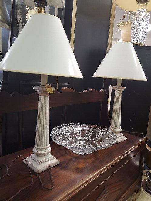 Pair white ceramic lamps