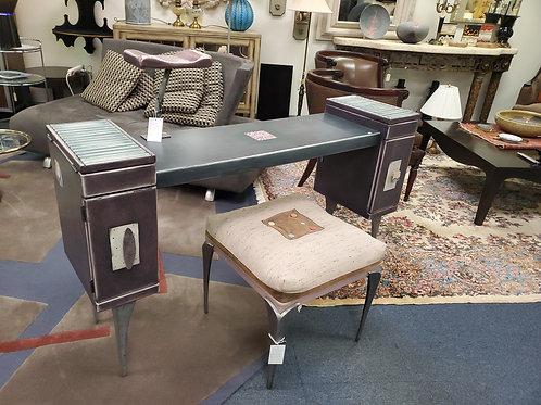 Original Avner Zabari Wood Metal Desk Miami Florida
