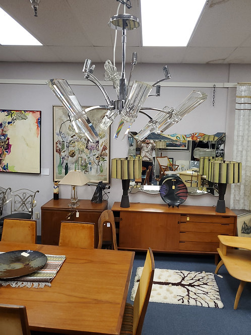 6 Light Chrome and Lucite Chandelier