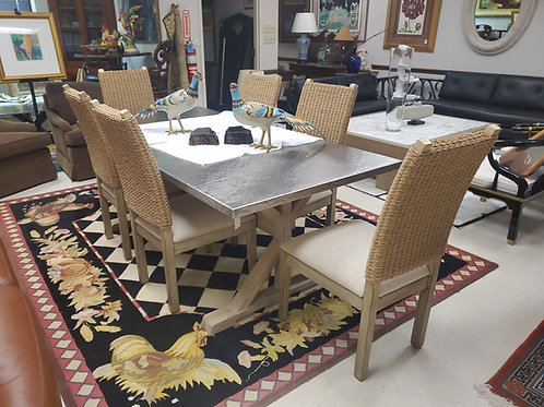 Bernhardt Stockton  Hammered Steel and Wood Table 6 Rattan Wood Side Chairs