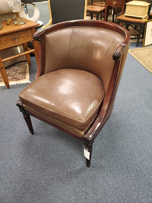 Brunello Leather Arm Chairs Pair Gregory Alonso