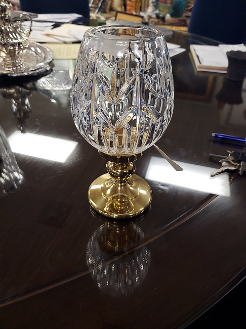 Waterford Hurricane Crystal and Brass Base, Made in Ireland