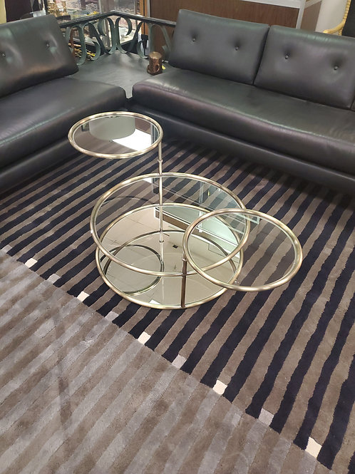 3 Tier Glass And Mirrored Swivel Coffee Table