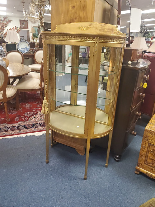 Curved Gold China Cabinet