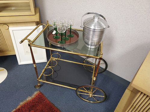 Brass Tea Cart with Smoked Glass