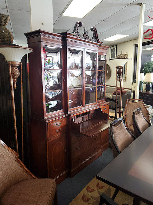 Benck Fine Furniture 3 Tier China Cabinet With Leather Top
