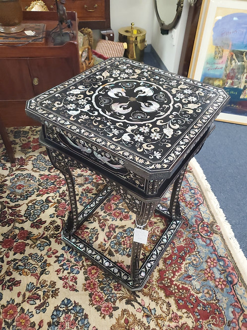 Mother of Pearl Inlay Tall End Table 20th Century