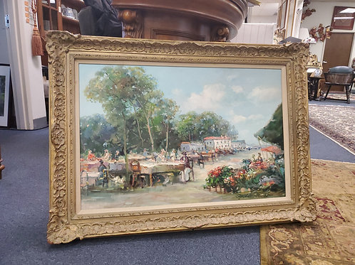 Oil On Canvas Outdoor Cafe Impressionist G.Henson 20th Century