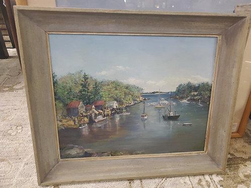 Bar Harbor Maine Boating Scene Signed Oil On Canvas