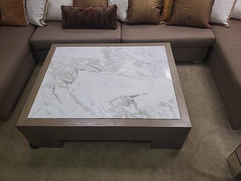 Custom White Marble Coffee Table