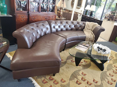 America Leather Tufted Curved Sofa