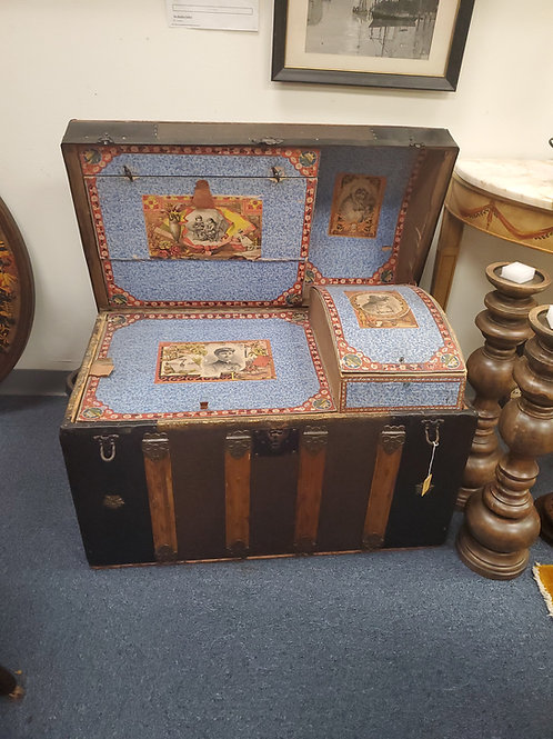 Tooled Leather and Oak Trunk With Fitted Interior