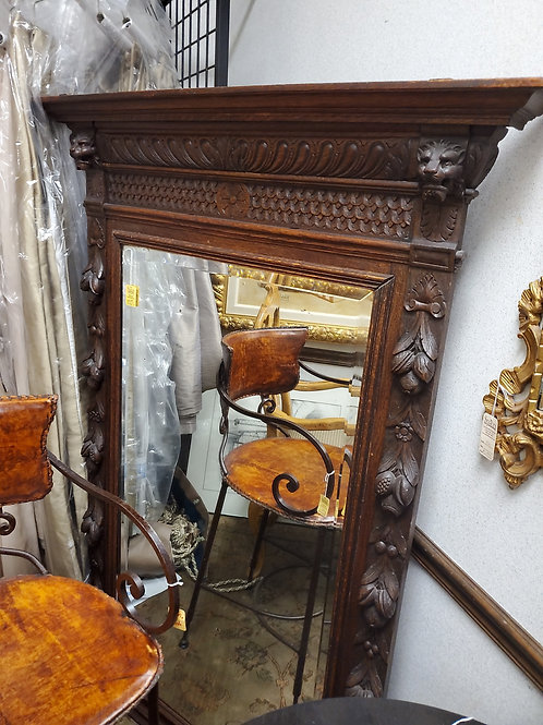 Wood Hand Carved Mirror