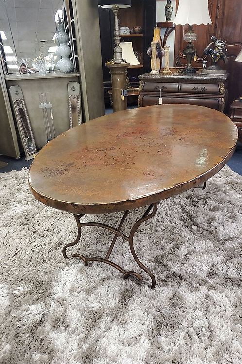 "Copper Top Oval Table With Arvade Base, ""46"" Width, ""87"" Length"
