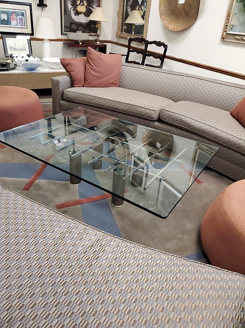 Chrome and Glass Top Coffee Table
