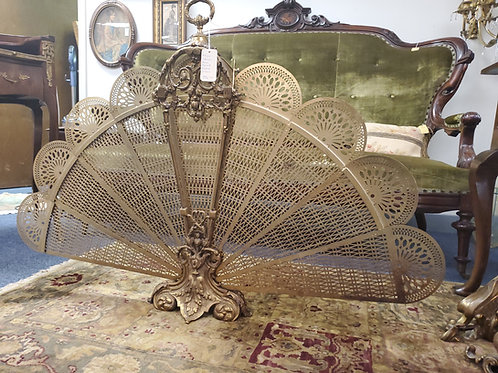 Antique Victorian Brass Peacock Fireplace Screen