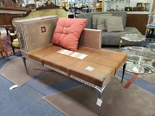 Original Avner Zabari Leather Wood Bench With Metal Legs Miami Florida