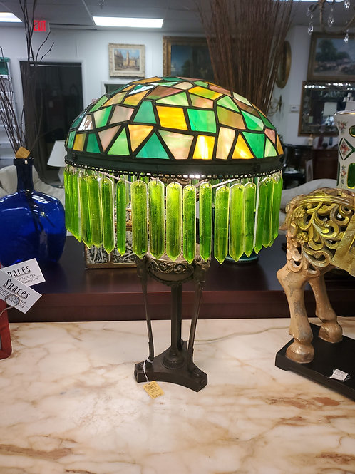 Antique Leaded Glass Rock Crystal Lamp Circa 1900