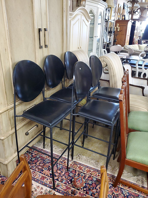 5 Black Leather High Top Bar Stools