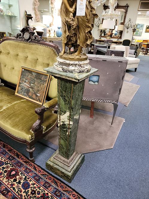 Pair Verdigris Marble With Bronze Inlay Art Deco Pedestals