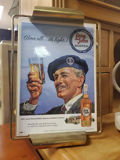 Long John Scotch Display Advertisement Tray