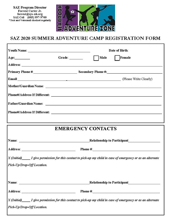 saz 2020 summer adventure camp registrat