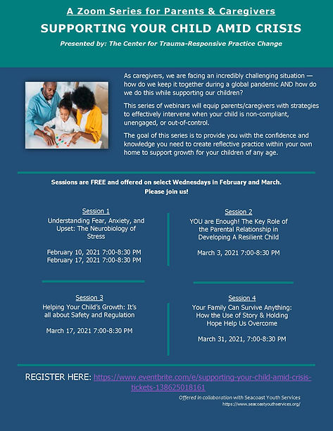 Zoom Series for Parents Caregivers flyer
