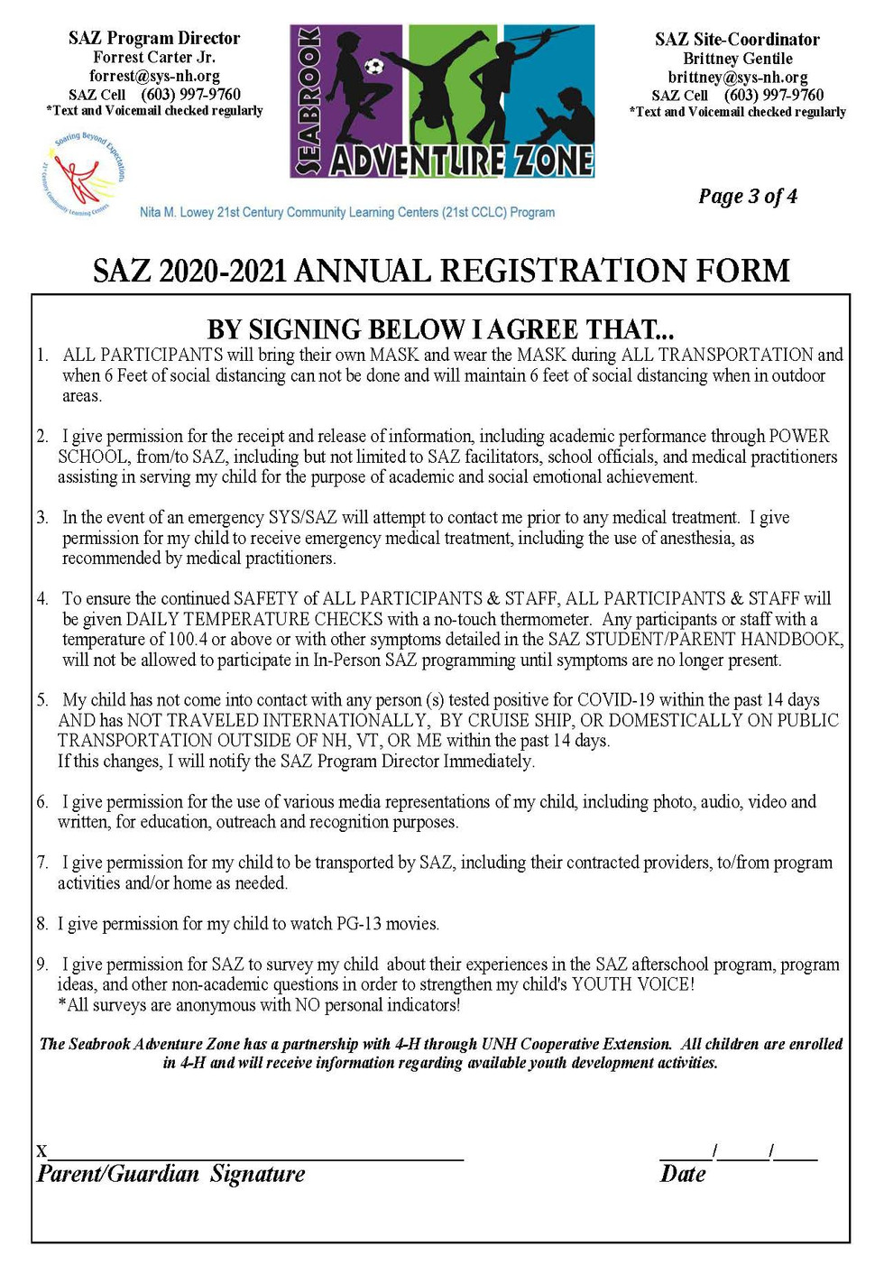 SAZ 2020-2021 Annual Registration Form