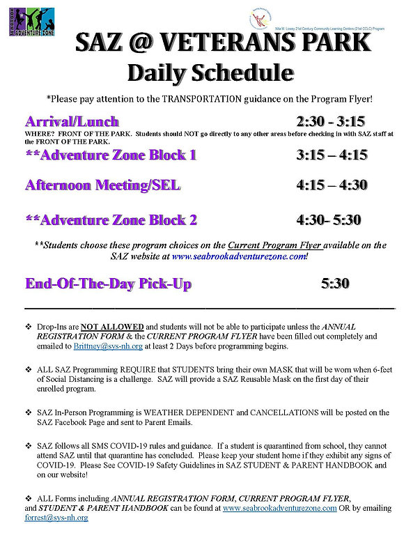 SAZ Daily Schedule In-Person Programming