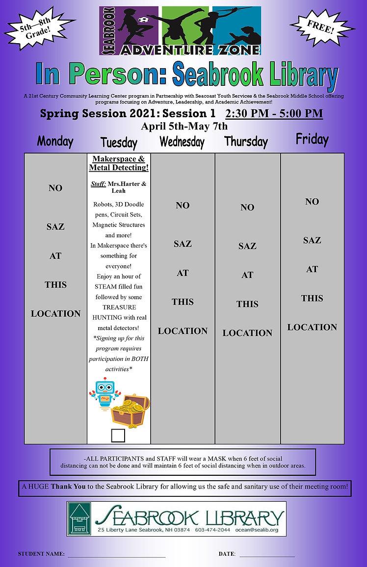 Spring Session 1 2020-2021 Program Flyer